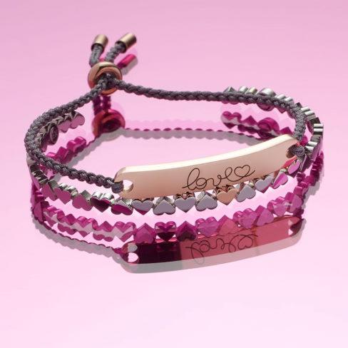 Smukt garveret armbånd i rosa guld fra Magnethjerte