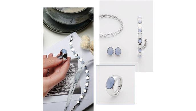 Magnetsmykker med lyseblå agat i klassisk stil